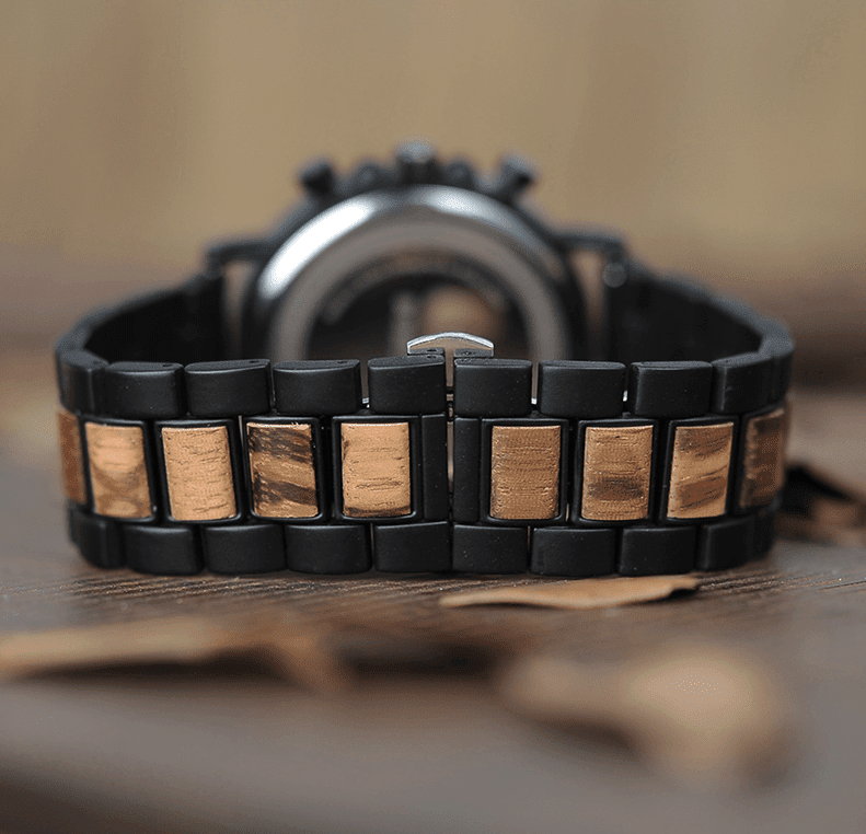 Wooden Men's Watch Military Chronograph Jewelry & Watches Gadget Monkey