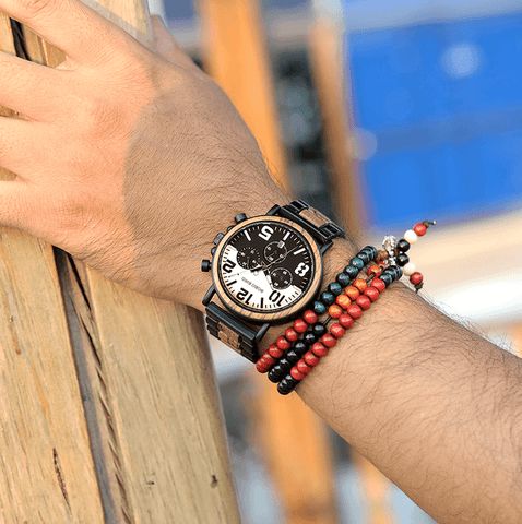 Image of Wooden Stainless Steel Watch Mens Water Resistant Chronograph Jewelry & Watches Gadget Monkey