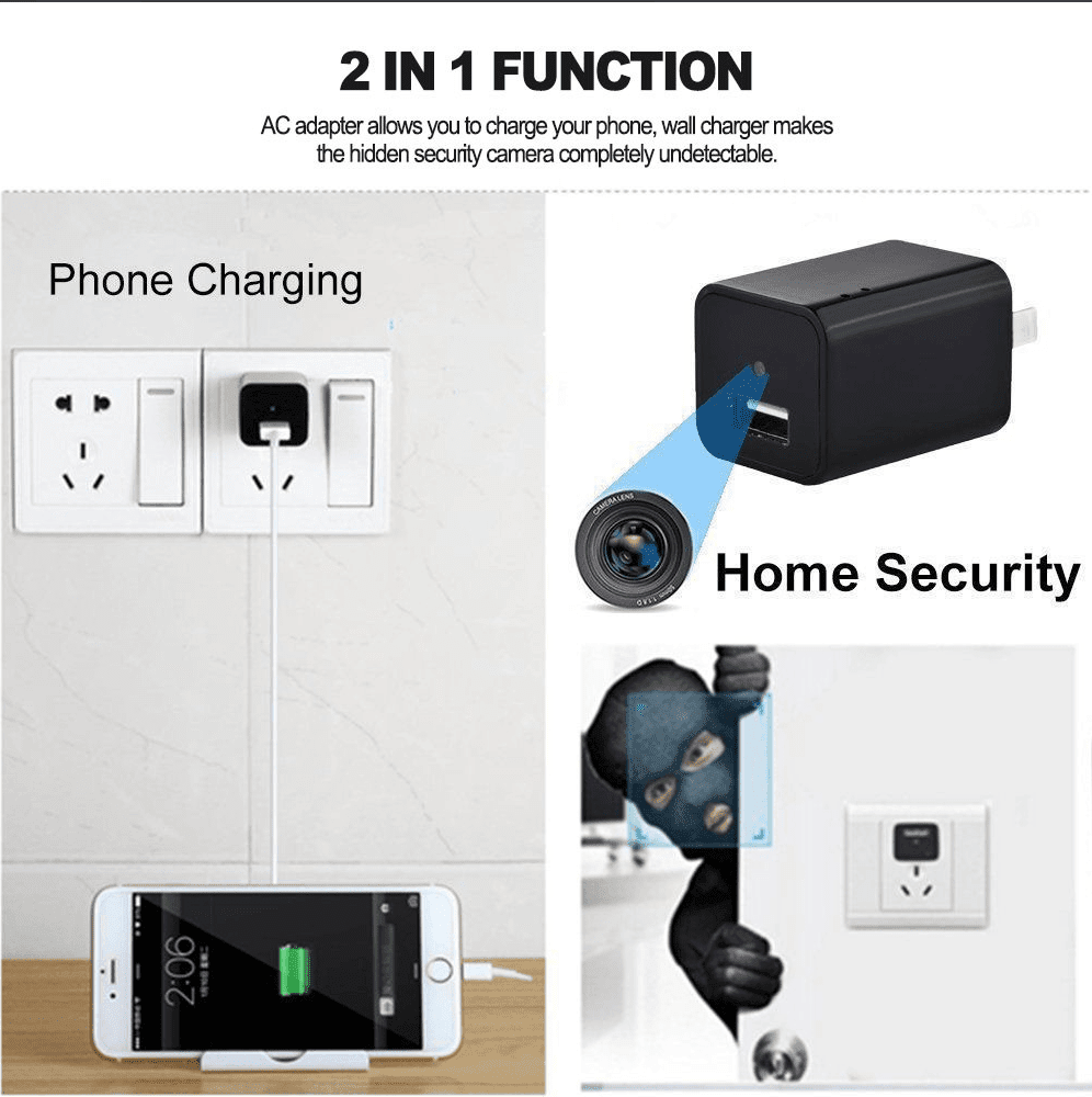 HD 1080P Hidden Camera USB Wall Charger Home Security Adapter Tech Accessories shopgadgetmonkey