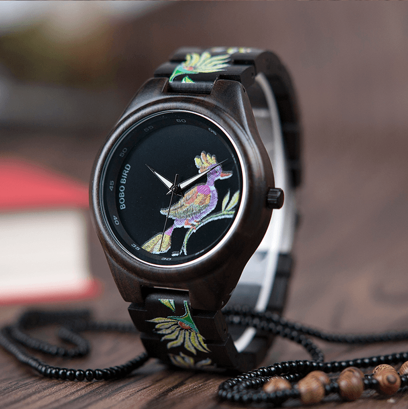 Bamboo Wooden Watch for Women With Embroidered Face Jewelry & Watches Gadget Monkey