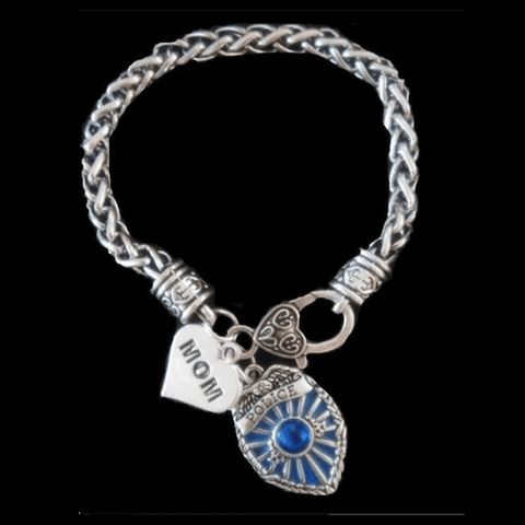 Image of Police Badge Charm Bracelet - First Responder Jewelry & Watches Gadget Monkey Mom