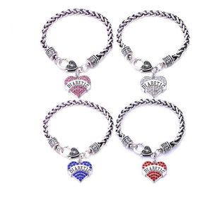 Womens Diabetic Medical Alert ID Bracelet - Pink, Blue, Clear or Red Crystal Hearts - Diabetes Health & Beauty Gadget Monkey