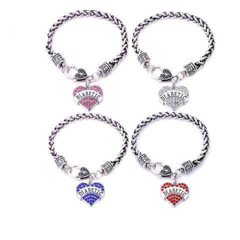Image of Womens Diabetic Medical Alert ID Bracelet - Pink, Blue, Clear or Red Crystal Hearts - Diabetes Health & Beauty Gadget Monkey