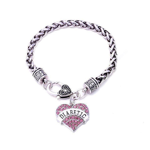Womens Diabetic Medical Alert ID Bracelet - Pink, Blue, Clear or Red Crystal Hearts - Diabetes Health & Beauty Gadget Monkey Pink