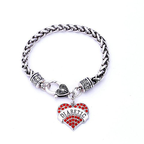 Image of Womens Diabetic Medical Alert ID Bracelet - Pink, Blue, Clear or Red Crystal Hearts - Diabetes Health & Beauty Gadget Monkey Red