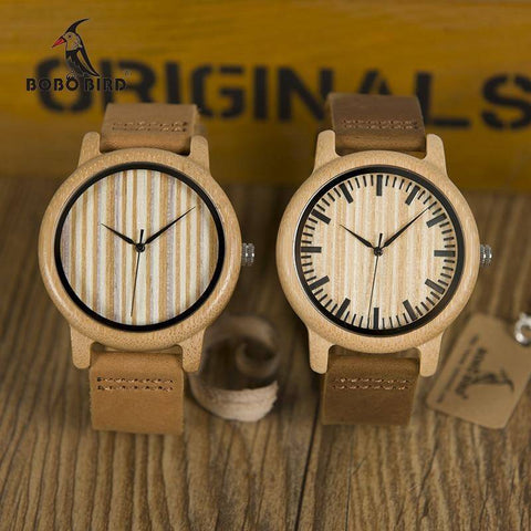 Image of Mens Bamboo Wood Wooden Watch, Quartz Watches With Leather Straps and Gift Box Jewelry & Watches Gadget Monkey