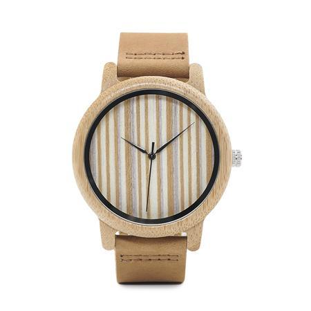 Image of Mens Bamboo Wood Wooden Watch, Quartz Watches With Leather Straps and Gift Box Jewelry & Watches Gadget Monkey No Numbers
