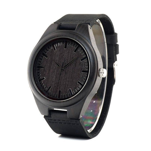 Image of Mens Black Wooden Watch With Real Leather - Quartz, Natural Ebony Wood Jewelry & Watches Gadget Monkey