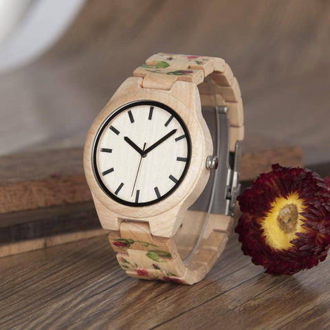 Image of Pine Watch With Floral Wooden Strap - Flower Wood Band Jewelry & Watches Gadget Monkey