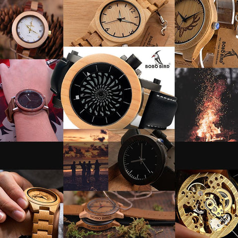 Pine Watch With Floral Wooden Strap - Flower Wood Band Jewelry & Watches Gadget Monkey