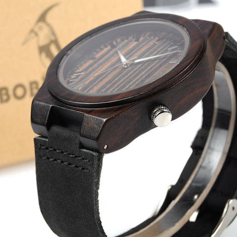 Image of Men's Ebony Wooden Watch with Wood Face and Leather Band Jewelry & Watches Gadget Monkey