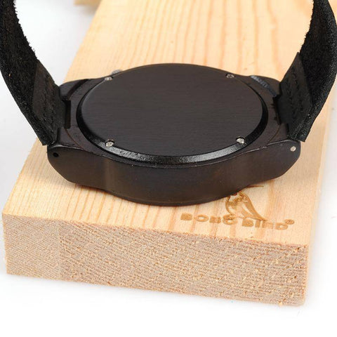 Men's Ebony Wooden Watch with Wood Face and Leather Band Jewelry & Watches Gadget Monkey