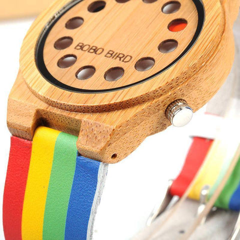 Bamboo Wood Unisex Watch - Rainbow Leather Band With Wooden Gift Box Jewelry & Watches Gadget Monkey
