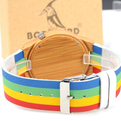 Image of Bamboo Wood Unisex Watch - Rainbow Leather Band With Wooden Gift Box Jewelry & Watches Gadget Monkey