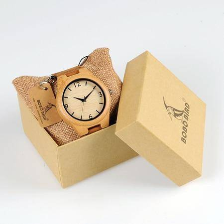 Bamboo Wooden Watches for Men and Women - Leather Band in Gift Box Jewelry & Watches Gadget Monkey Mens
