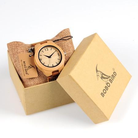 Image of Bamboo Wooden Watches for Men and Women - Leather Band in Gift Box Jewelry & Watches Gadget Monkey Womens