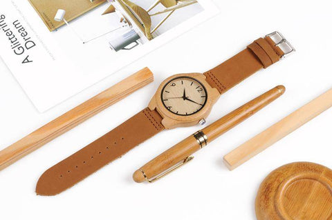 Image of Bamboo Wooden Watches for Men and Women - Leather Band in Gift Box Jewelry & Watches Gadget Monkey