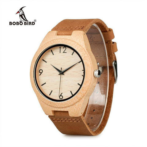 Bamboo Wooden Watches for Men and Women - Leather Band in Gift Box Jewelry & Watches Gadget Monkey