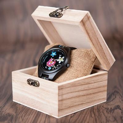 Bamboo Wooden Watch for Women With Embroidered Face Jewelry & Watches Gadget Monkey Red Flower