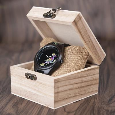 Bamboo Wooden Watch for Women With Embroidered Face Jewelry & Watches Gadget Monkey Colorful Bird