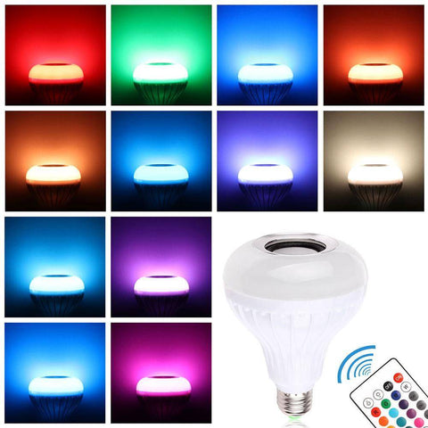 Wireless Bluetooth Music Bulb Light Loudspeaker - 12w LED Speaker Color-changing Home & Garden Gadget Monkey
