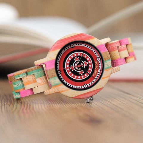 Image of Colorful Bamboo Wood Watch for Women - Wooden Band - In Gift Box Jewelry & Watches Gadget Monkey