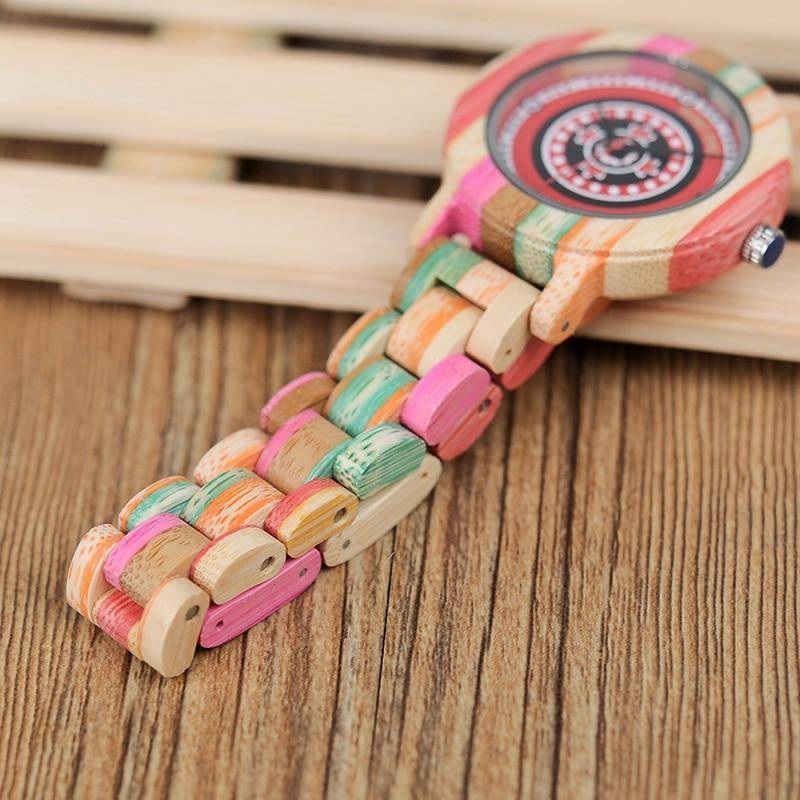 Colorful Bamboo Wood Watch for Women - Wooden Band - In Gift Box Jewelry & Watches Gadget Monkey