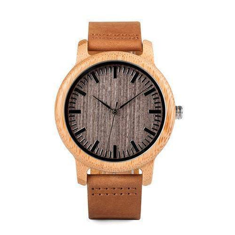 Vintage Round Bamboo Wooden Quartz Watch With Leather Bands Jewelry & Watches Gadget Monkey A18 with scales