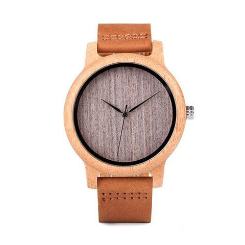 Image of Vintage Round Bamboo Wooden Quartz Watch With Leather Bands Jewelry & Watches Gadget Monkey L10 without scale