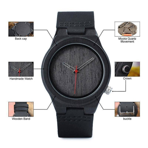 Image of Classic Black Wooden Watch for Women comes in a Beautiful Wood Gift Box Jewelry & Watches Gadget Monkey