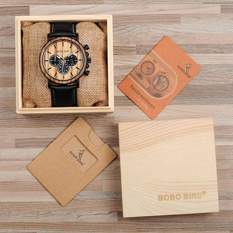 Wood and Stainless Steel Wooden Watch w/ Luminous Hands Mens Quartz Wristwatch Jewelry & Watches Gadget Monkey