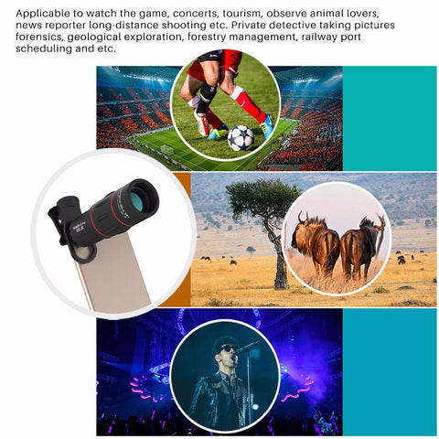 Image of 18X Zoom Telescope Mobile Lens with Tripod Clip For iPhone and Samsung Android - 1000m 3280ft Tech Accessories Gadget Monkey