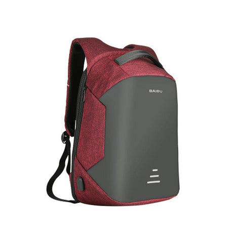 Image of Waterproof Charging Backpack Business Satchel Bag with USB Charging Port Tech Accessories shopgadgetmonkey Purplish Red