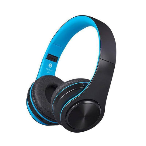 Image of Wireless Bluetooth Stereo Headphones with up to 32GB of built in music storage Tech Accessories shopgadgetmonkey Black and Blue