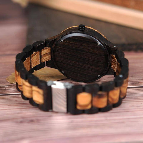 Image of Wood Watch Quartz Mens Watches with Luminous Hands in Wooden Gift Box Jewelry & Watches Gadget Monkey