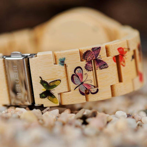 Image of Butterfly Ladies Wooden Watch With Painted Butterflies in Wood Gift Box Jewelry & Watches Gadget Monkey