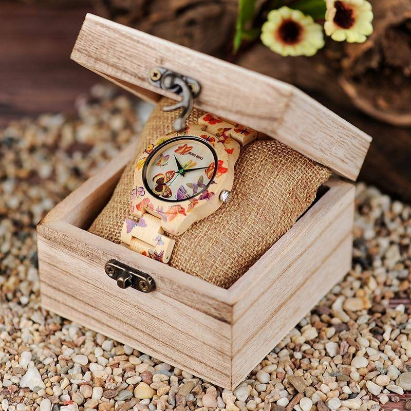 Butterfly Ladies Wooden Watch With Painted Butterflies in Wood Gift Box Jewelry & Watches Gadget Monkey