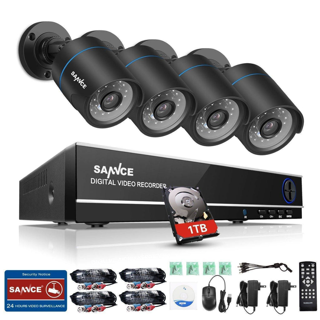 4 Channel Home Video Security Cameras System with Night Vision Home & Garden Gadget Monkey 1TB hard drive