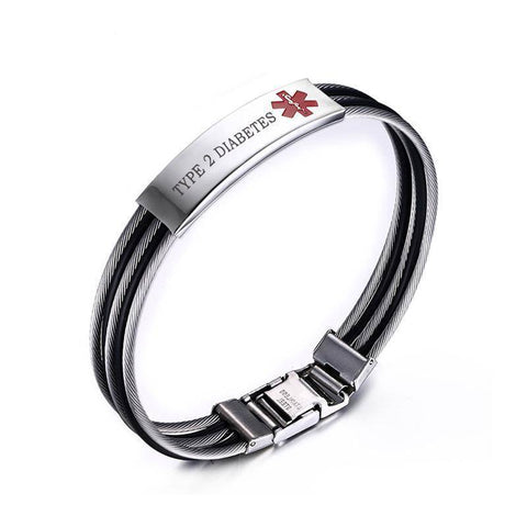 Image of Mens Diabetic Medical Alert ID Bracelet - Banded Stainless Steel - For Type 1 and Type 2 Diabetes Health & Beauty Gadget Monkey TYPE 2 DIABETES