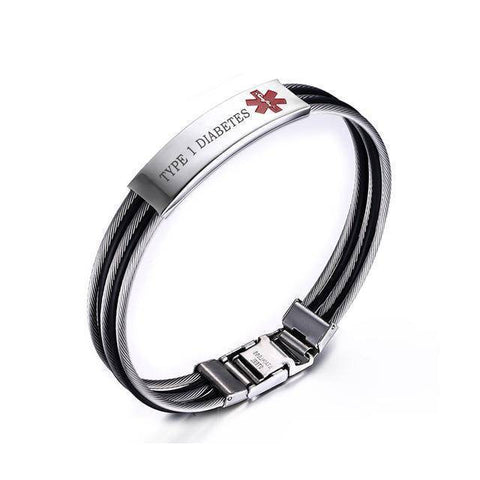 Image of Mens Diabetic Medical Alert ID Bracelet - Banded Stainless Steel - For Type 1 and Type 2 Diabetes Health & Beauty Gadget Monkey TYPE 1 DIABETES