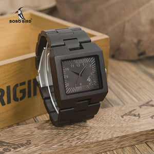 Bamboo Wood Wooden Mens Watch - Rectangle Design Jewelry & Watches Gadget Monkey