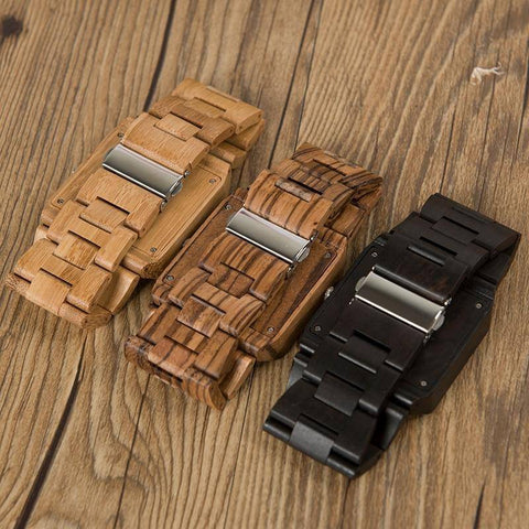 Image of Bamboo Wood Wooden Mens Watch - Rectangle Design Jewelry & Watches Gadget Monkey