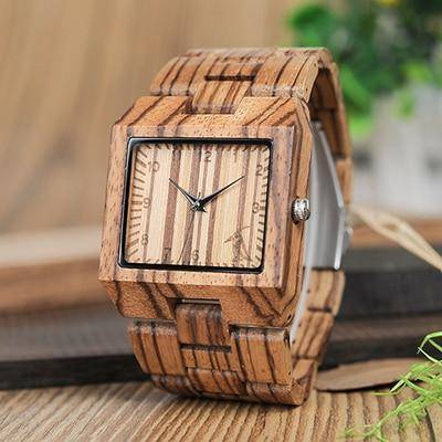 Image of Bamboo Wood Wooden Mens Watch - Rectangle Design Jewelry & Watches Gadget Monkey L24 Zebra Wood Spain