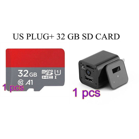 HD 1080P Stealth Camera USB Wall Charger Tech Accessories shopgadgetmonkey US Plug 32 GB