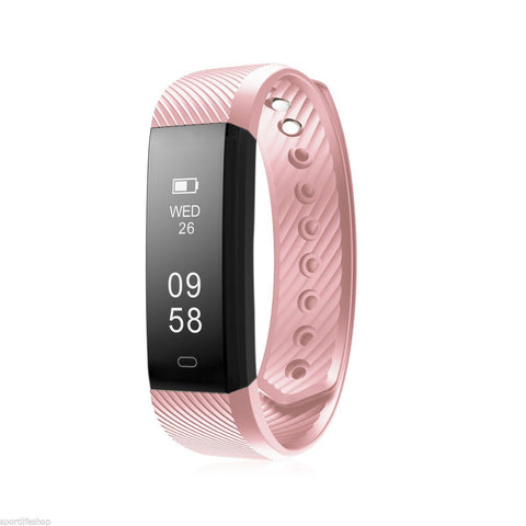 Image of Bluetooth Smart Bracelet the Fitness Tracker Heart Rate Monitor Health & Beauty shopgadgetmonkey Pink