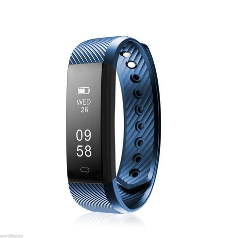 Image of Bluetooth Smart Bracelet the Fitness Tracker Heart Rate Monitor Health & Beauty shopgadgetmonkey Blue