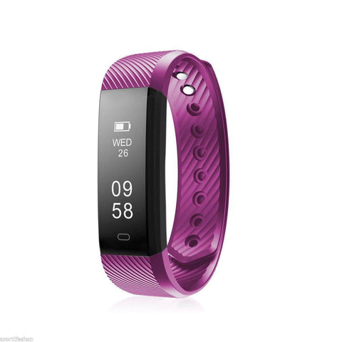 Image of Bluetooth Smart Bracelet the Fitness Tracker Heart Rate Monitor Health & Beauty shopgadgetmonkey Purple