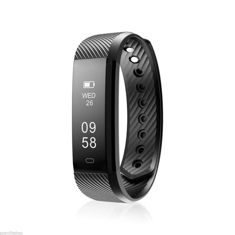 Bluetooth Smart Bracelet the Fitness Tracker Heart Rate Monitor Health & Beauty shopgadgetmonkey Black