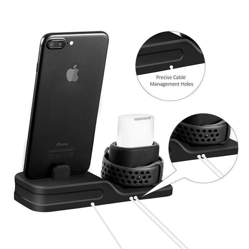 3 in 1 Charging Dock Holder For iPhone X 8 7 6 Silicone charging stand Dock Station For Apple Watch Airpods Tech Accessories Gadget Monkey