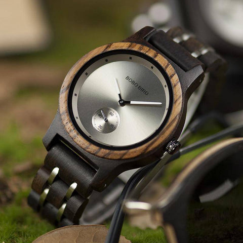 Wood and Metal Strap Watch, Quartz Watch in Wood Box Jewelry & Watches Gadget Monkey